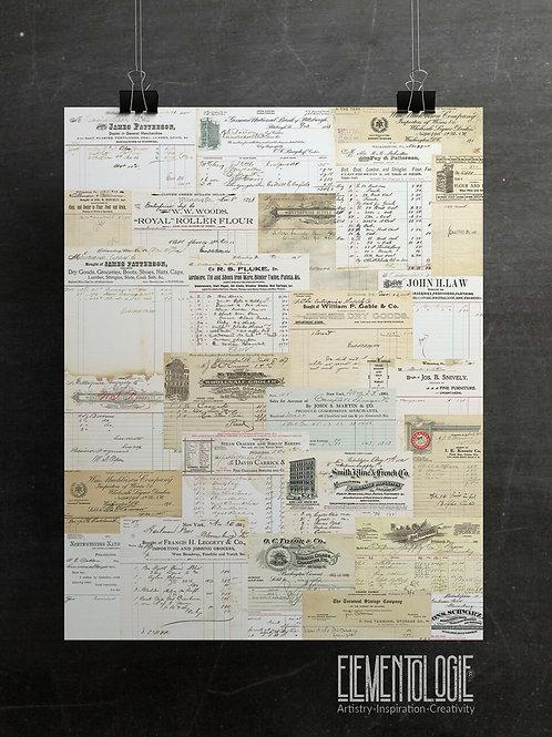 Vintage Receipts Collage No.9987