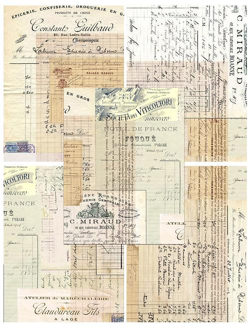Vintage Ephemera Paper Pack No. 40367, Printable Paper Pack, Digital Pa