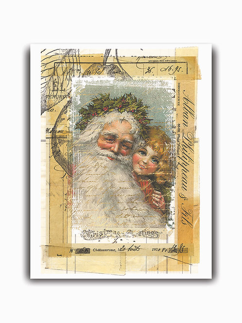 Old World Santa Collage No.0014- Blank Card