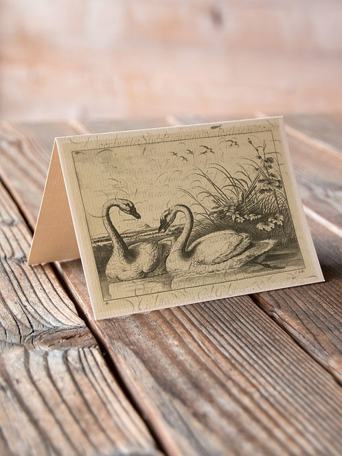 Vintage Swan Collage Print-No.66349-Blank Note Card