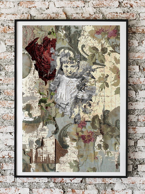 Vintage Ephemera & Botanical Collage Print No.00004