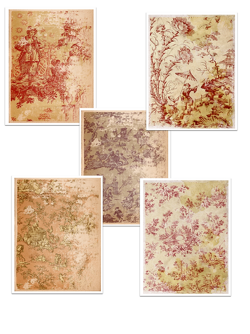 Distressed French Toile Paper Pack No. 50015, Printable Paper Pack