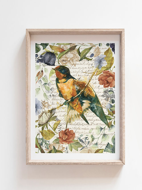 Bird Collage Print-No. 00993