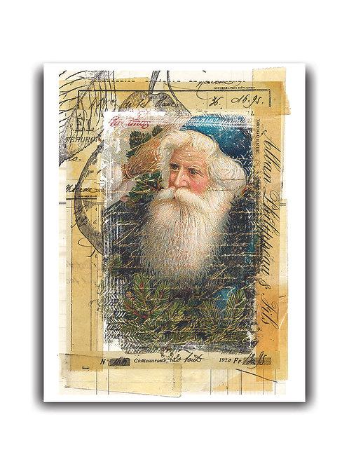 Old World Santa Collage No.0015- Blank Card