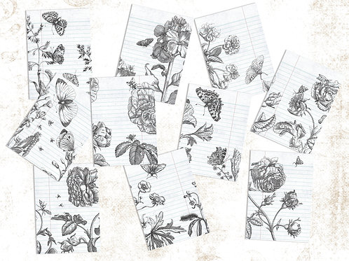 Journal Pages- 10 Lined Botanical Theme
