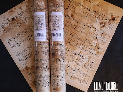 Aged Music Sheets- Bundle of 6