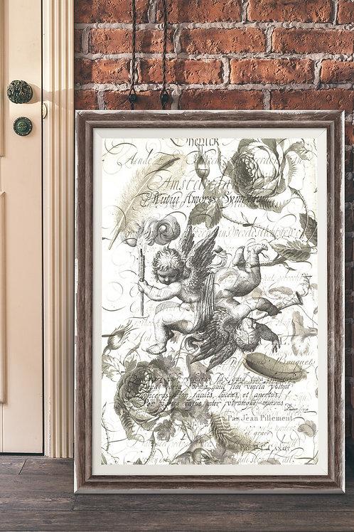 Antique Cherub Collage Print-No.009