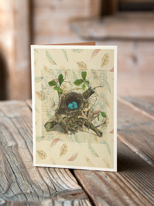 Bird Nest Print-Number 003-Blank Note Card