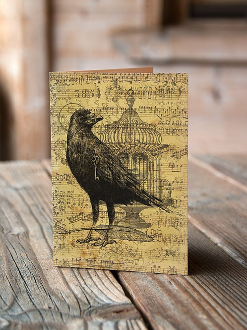 Raven Collage Print-No.002-Blank Note Card