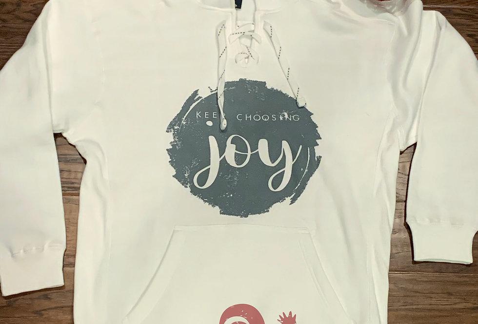 Keep Choosing Joy hooded tie sweatshirt