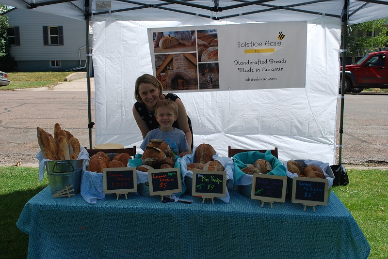 Katrina and Everett getting ready to start the market.