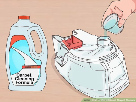 Add carpet cleaning solution to the tank