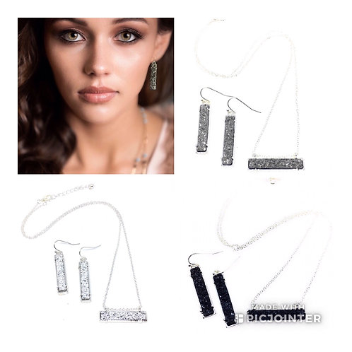 Drusy Bar Necklace and Earring Set in 10 Colors in Silver Metal Tone