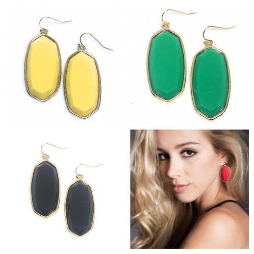Big Solid 3D Oval Earrings Large in Gold
