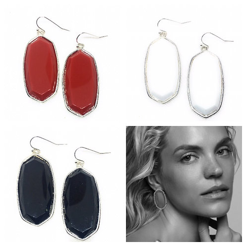 Big Solid 3D Oval Earrings Large in Silver