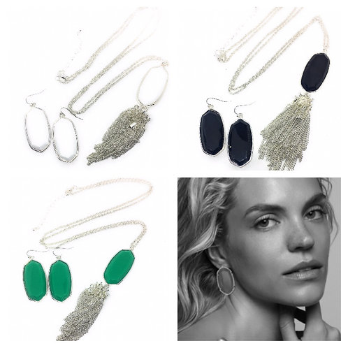 Big Statement Solid 3D Oval Necklace and Earrings Set in 5 Colors in Silver