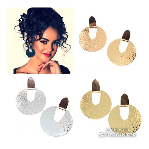 Big Statement Circle Earrings Hammered Metal in 4 Colors
