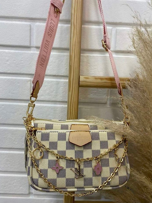 Designer Multi Pouchette Purse with Charms and chain in 2 Colors