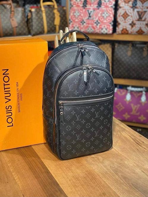 Large Designer Leather Backpack Black in Signature Monogram Grey