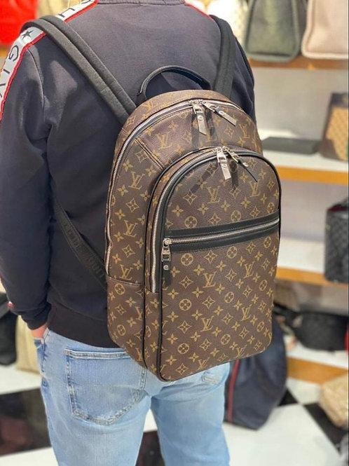 Large Designer Leather Backpack in Signature Monogram Brown