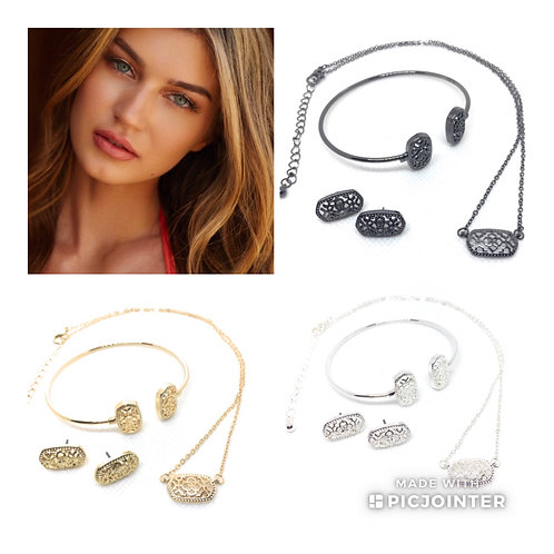 Metal Filigree Complete Set Necklace, Earrings and Bracelet in 11 Metal Colors