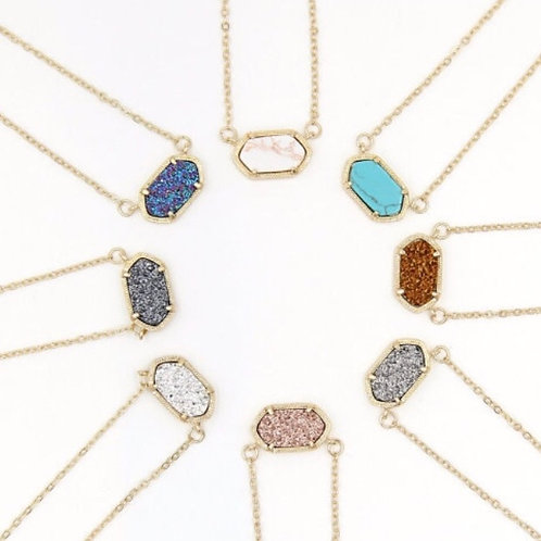 Oval Pendant Drusy Necklace in 10 Colors In Gold Tone