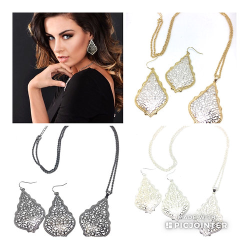 3D Metal Filigree Set Available in 7 Colors