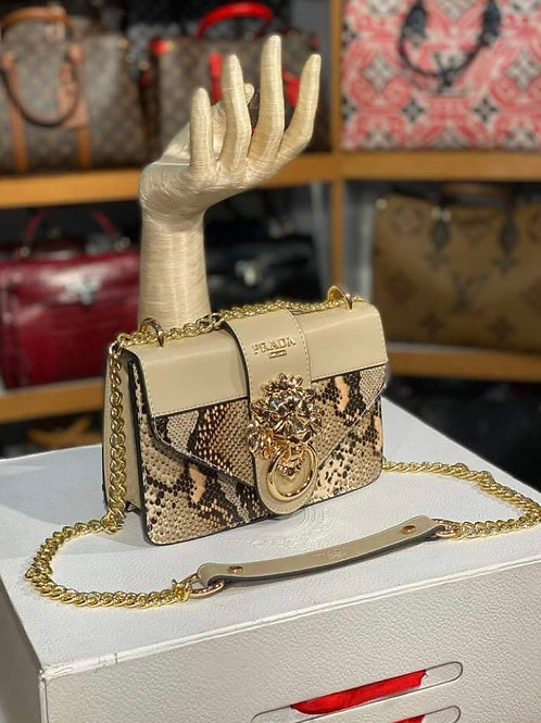 Lion Head Leather Carry Clutch in Classic Beige