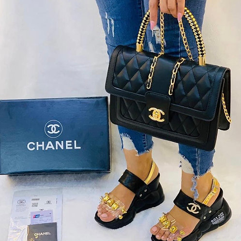 Summer Collection Chunky Sandal Shoes and Matching Purse in Black or White