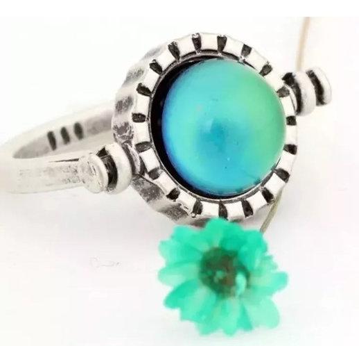 Magic Mood Ring in Antique Sterling Silver Swivel Sun Design