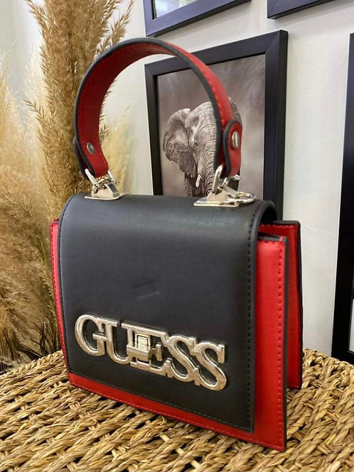 Genuine Leather Designer Square Clutch in Bold Black and Red Color