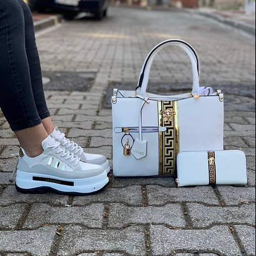 Designer Angelic White Collection Matching Purse, Wallet and Shoes