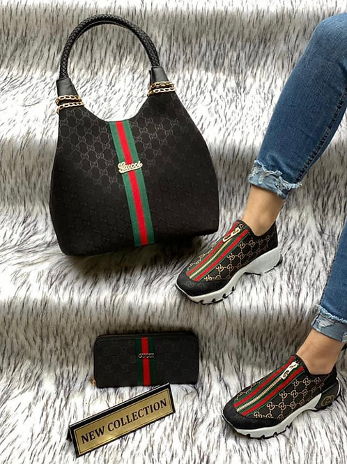 Designer Tennis Shoe with Matching Wallet and Braided Handle Hobo Slouch Purse