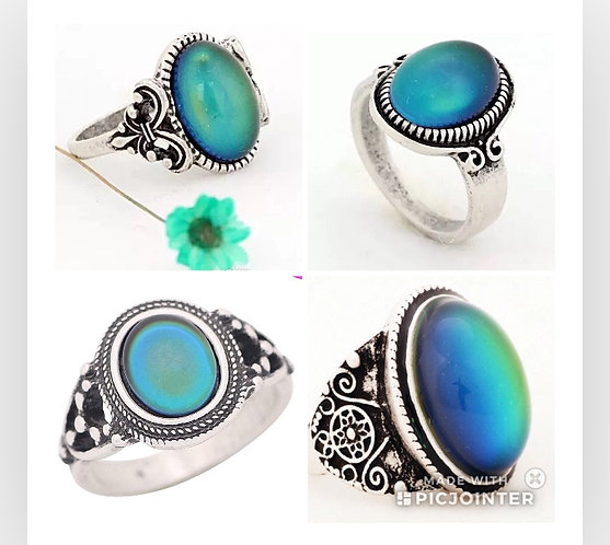 Mood Rings in Antique Sterling Silver in 12 Styles