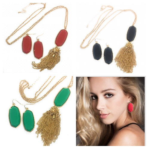 Big Statement Solid 3D Oval Necklace and Earrings Set in 5 Colors in Gold