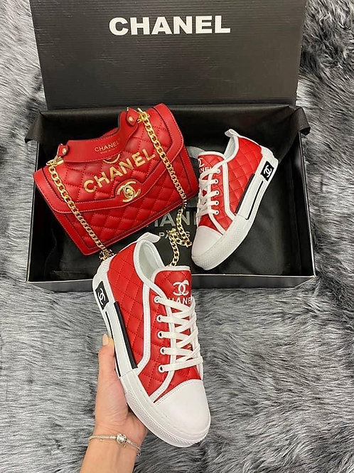 Stylish Designer Chuck Style Tennis Shoe and Clutch