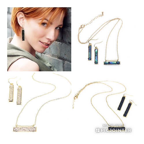 Drusy Bar Necklace and Earring Set in 10 Colors in Gold Metal Tone