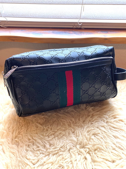 Designer Leather Toiletry Pouch in Black Leather