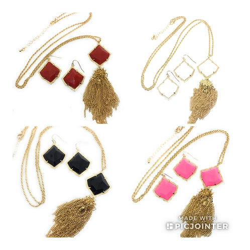 NEW Square 3D Candy Color Necklace and Earring Set in 5 Color in Gold