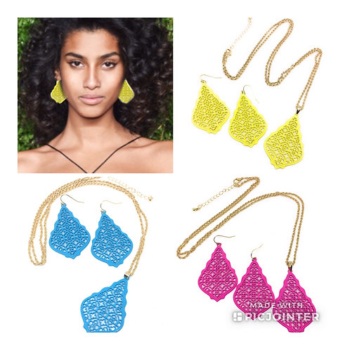 New 3D Colored Filigree Necklace and Earring Sets in 10 Colors