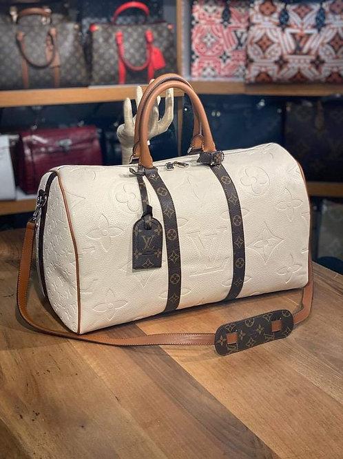 Designer Monogram Travel Shoulder Duffel Bag in Cream/Tan