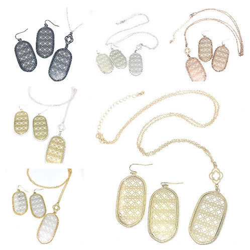 Flat Metal Filigree Necklace and Earring Set Available in 8 Colors