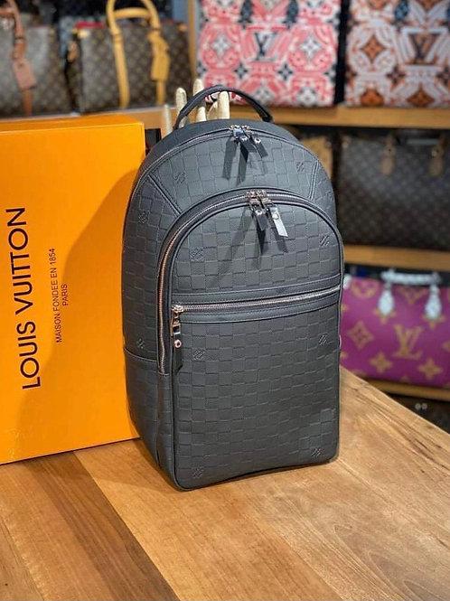 Large Designer Leather Backpack Black with Monogram Square