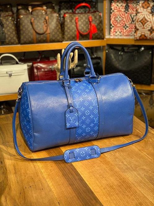 Designer Monogram Travel Shoulder Duffel Bag in Blue