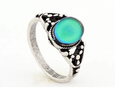 Magic Mood Ring in Antique Sterling Silver Princess Design