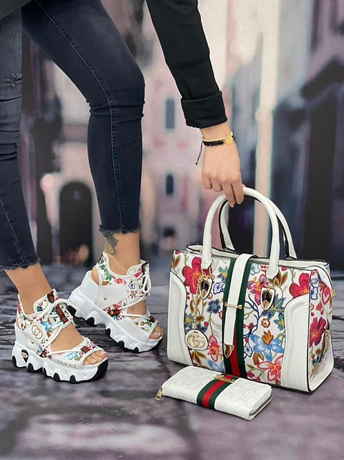 Chunky Gucci Flower Tennis/Sandal with Cute Matching Purse and Wallet