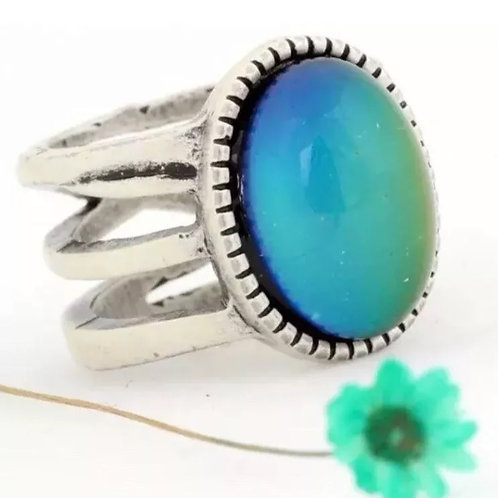 Magic Mood Ring in Antique Sterling Silver Tri-band Design