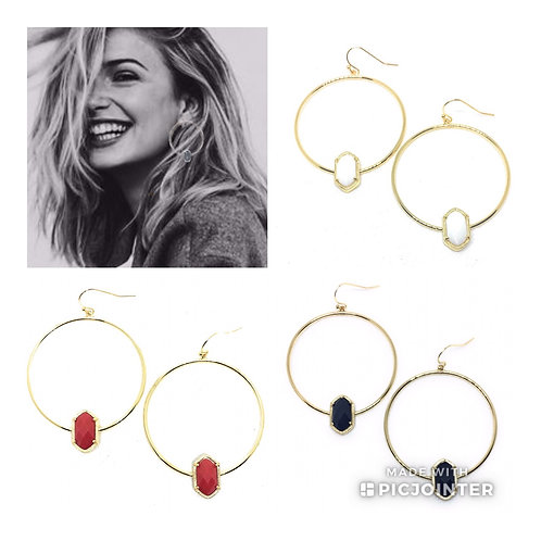 Candy Color Hoop Earring in Gold or Silver