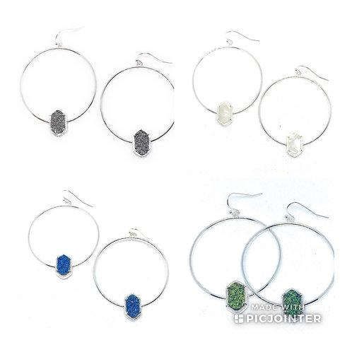 Drusy Hoop Earring in Silver