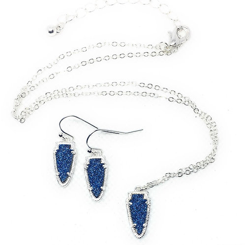 Arrow Drusy Necklace and Earring Set in Gold and Silver